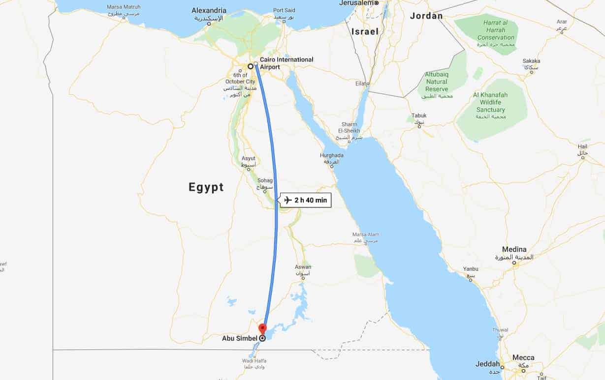 Cairo to Abu Simbel Map