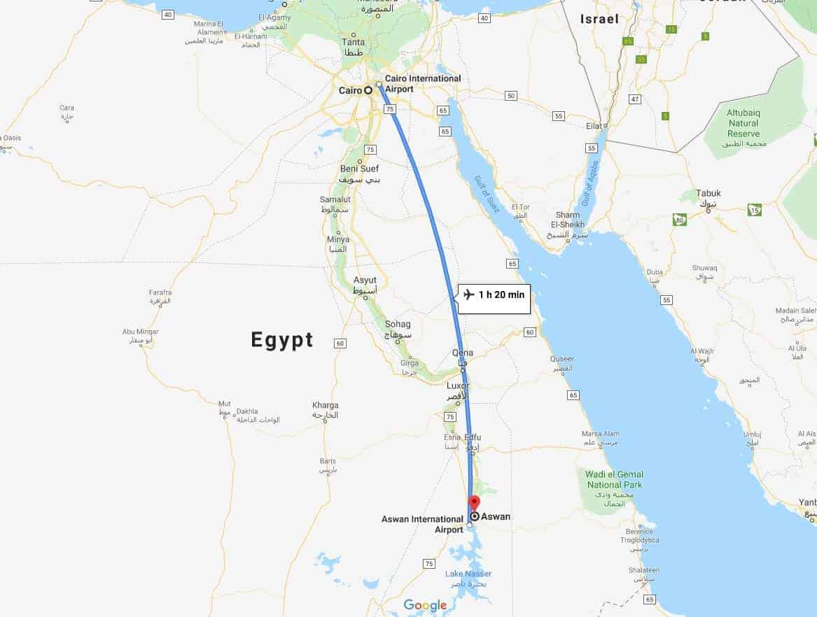 Cairo to Aswan Map