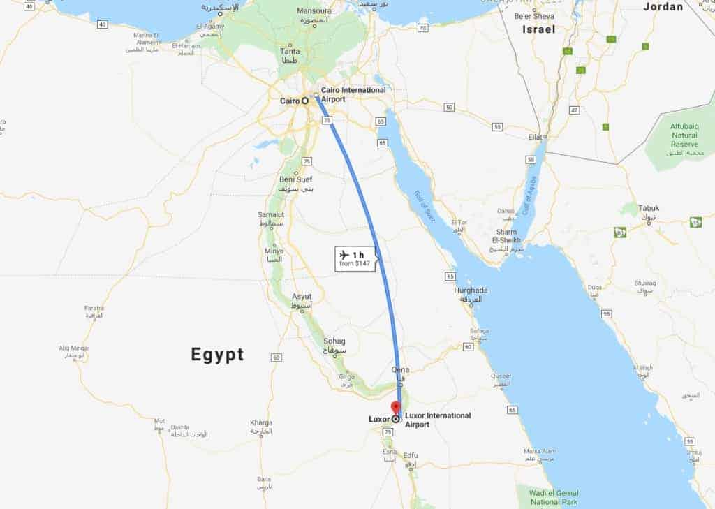 Cairo to Luxor Jet Charter Map