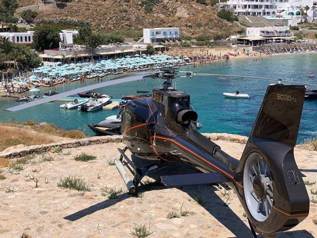 Athens to Scorpios, Mykonos helicopter charter