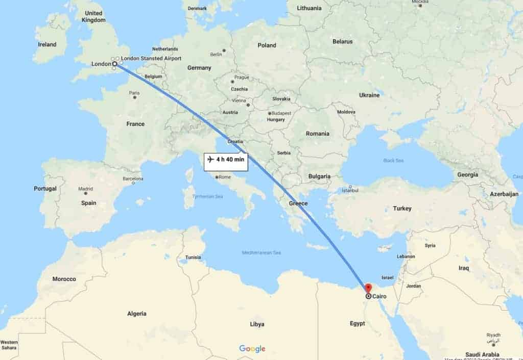 London to Cairo Jet Charter Map